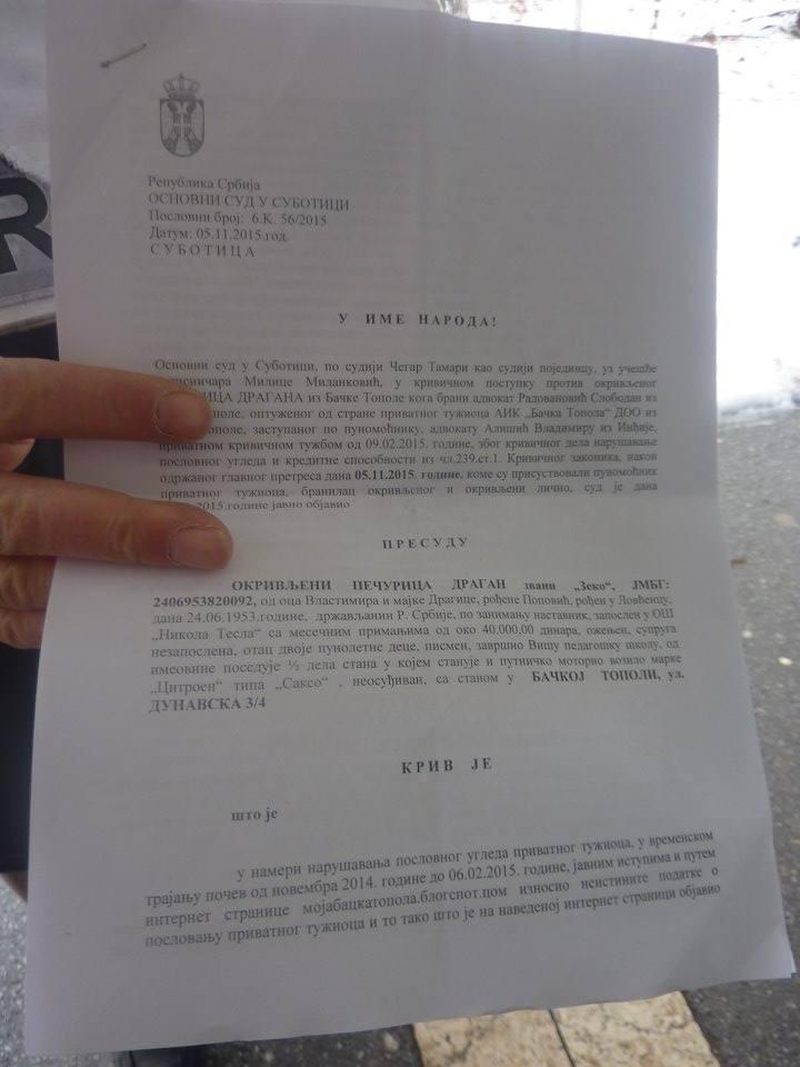 Presuda Osnovnog suda u Subotici.