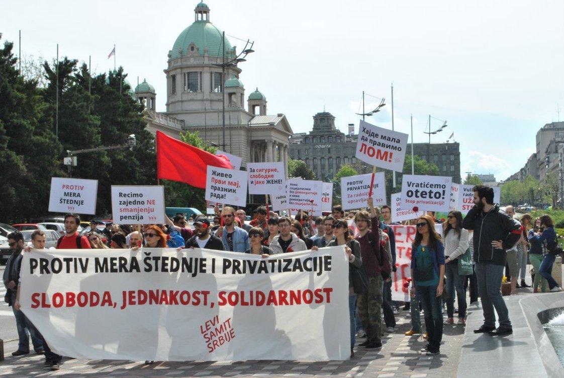 Protest za ljudska i radnička prava, povodom Prvog maja.