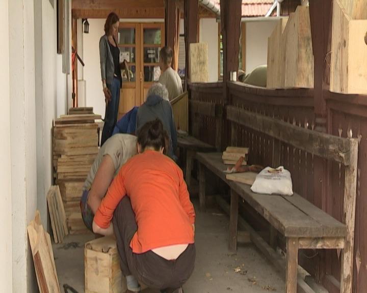 Volonteri iz EU vredno rade na pravljenju kućića za ptice.