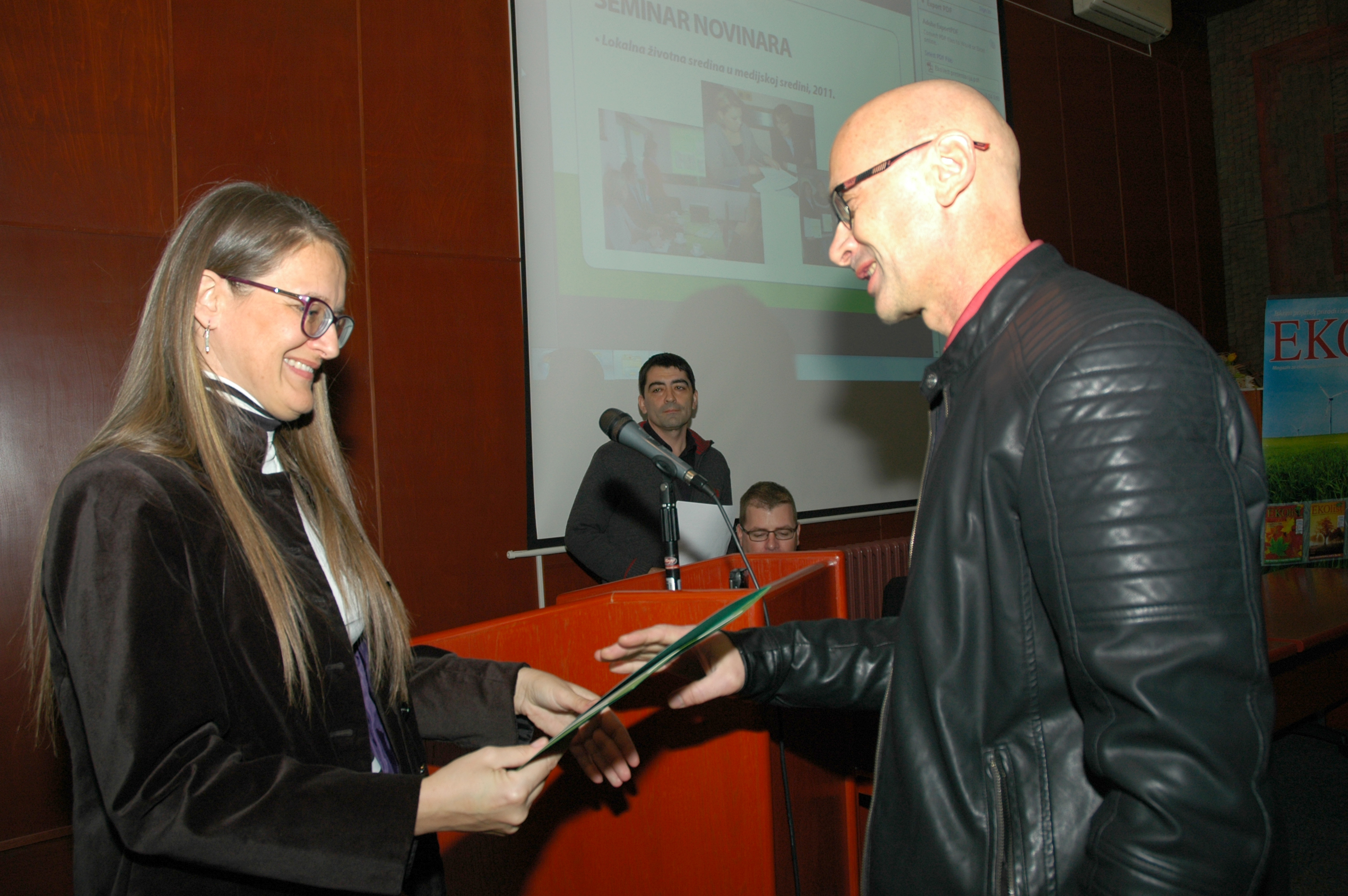 Uručenje priznanja ekologu, Ratku Đurđevac. Foto: Miloš Ćirković.